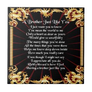 Het Gedicht van de broer - Zwart ontwerp Tegeltje Vierkant Small