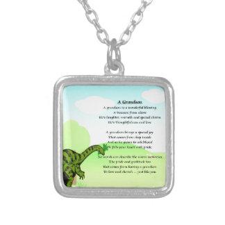 Het Gedicht van de kleinzoon - Dinosaurus Zilver Vergulden Ketting