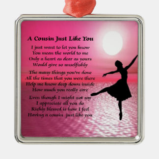 Het Gedicht van de neef - Ballerina Zilverkleurig Vierkant Ornament