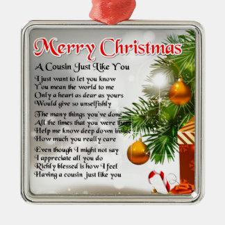 Het Gedicht van de neef - het ontwerp van Kerstmis Zilverkleurig Vierkant Ornament
