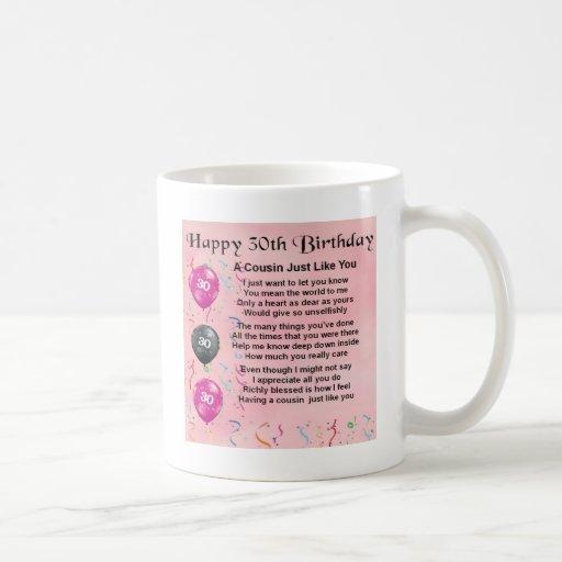 Het Gedicht van de neef - Roze - 30ste Verjaardag Koffie Bekers
