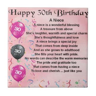 Het Gedicht van de nicht - 30ste Verjaardag Tegeltje Vierkant Small