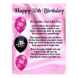 Het Gedicht van de tante - 30ste Verjaardag Briefkaart