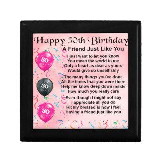 Het Gedicht van de vriend - 30ste Verjaardag Decoratiedoosje