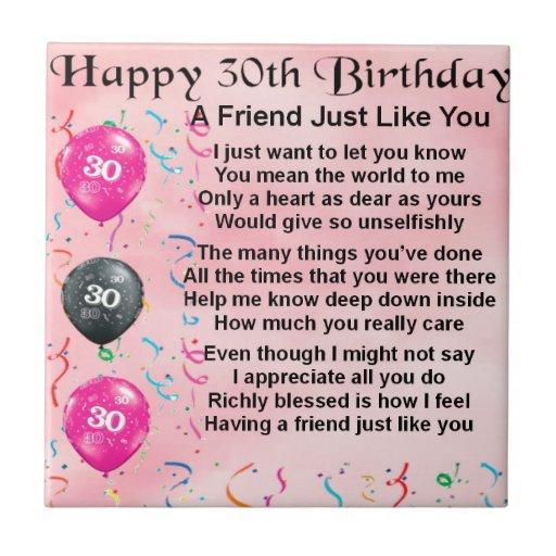 Het Gedicht van de vriend - 30ste Verjaardag Geboortetegels