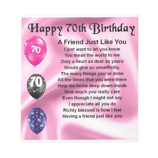 Het Gedicht Van De Vriend 70ste Verjaardag Notitieblok