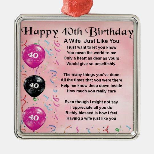Wonderbaar Het gedicht van de vrouw - 40ste Verjaardag Zilverkleurig Vierkant NB-37