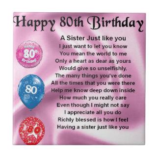 Het Gedicht van de zuster - 80ste Verjaardag Tegeltje