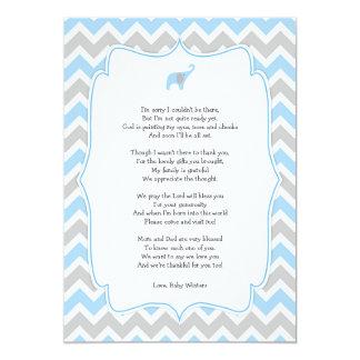 Het gedicht van het baby shower dankt u nota neemt kaart