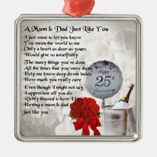 Het Gedicht van Mum & van de Papa - het 25ste Zilverkleurig Vierkant Ornament