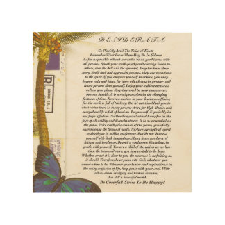 Het gedicht van Wensen met Palm en Vlinder Hout Afdruk