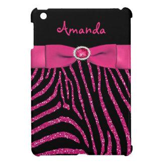 Het GEDRUKTE Roze van het LINT schittert Gestreept iPad Mini Cases