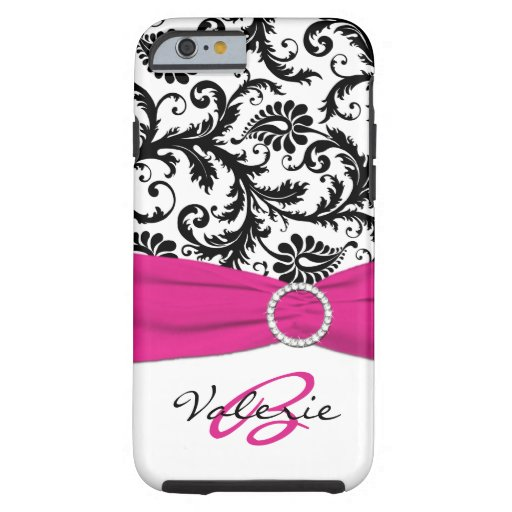Het GEDRUKTE Roze, Zwarte, Witte BloemenDamast van Tough iPhone 6 Hoesje