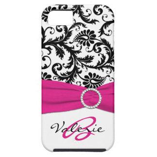 Het GEDRUKTE Roze Zwarte Witte BloemenDamast van iPhone 5 Covers