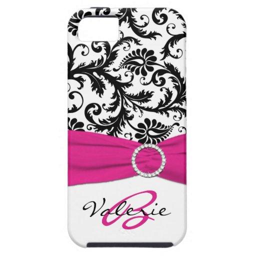 Het GEDRUKTE Roze, Zwarte, Witte BloemenDamast van iPhone 5 Covers