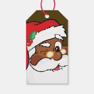 Het geheime het Knipogen Zwarte de Kerstman Label Cadeaulabel