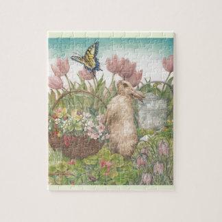 Het geïllustreerde Konijntje van de Lente in Tuin Puzzel