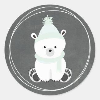 Het Geïnspireerde Baby shower van de Ijsbeer Bord Ronde Sticker
