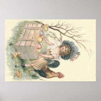Het Gekleurde Ei van het Kuiken van Pasen van het Poster