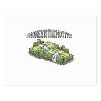 Het geld is het Beweging veroorzakende Collectie Briefkaart