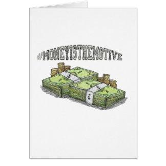 Het geld is het Beweging veroorzakende Collectie Wenskaart