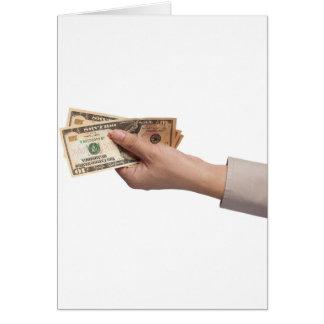 Het geld van de holding wenskaart