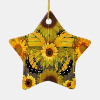 Het gele ART. van de VLINDER & van de Zonnebloem Keramisch Ster Ornament