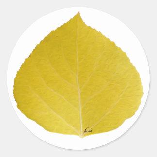 Het gele Blad van de Esp #5 Ronde Sticker
