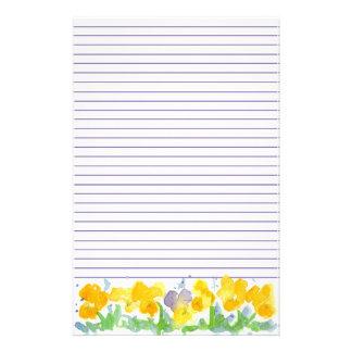 Het gele Bloemen Gevoerd Schilderen van de Briefpapier