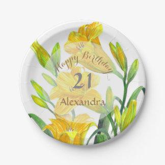 Het gele BloemenArt. van de Lelies van de Dag Papieren Bordje