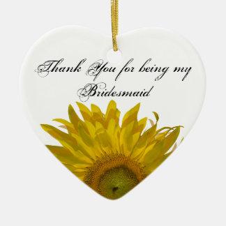 Het gele Bruidsmeisje van de Zonnebloem dankt u Keramisch Hart Ornament