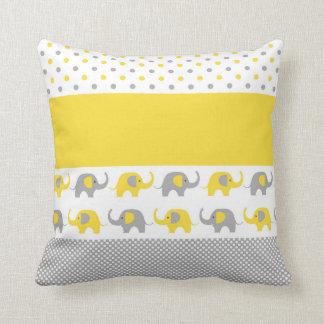 Het gele en Grijze Hoofdkussen van de mini-Olifant Sierkussen