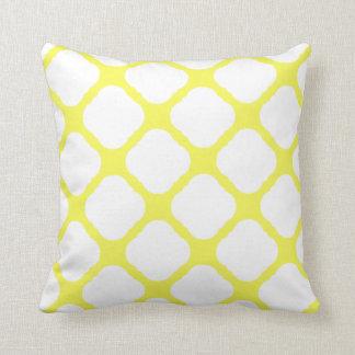 Het gele en Witte Patroon van het Art deco Sierkussen