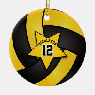 Het gele en Zwarte Volleyball van de Ster Rond Keramisch Ornament