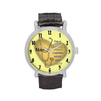 Het gele Geriatrische Hart van de Verpleegster Horloge