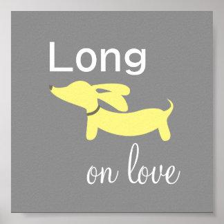 Het gele & Grijze Art. van de Muur van de Hond van Poster