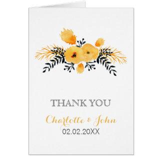 het gele grijze waterverf bloemenhuwelijk dankt u wenskaart