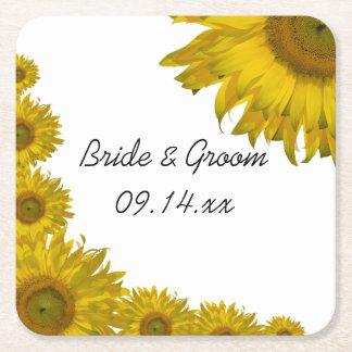 Het gele Huwelijk van de Rand van de Zonnebloem Vierkante Onderzetter