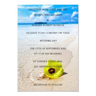 Het gele Huwelijk van het Strand van de Bloem 8,9x12,7 Uitnodiging Kaart