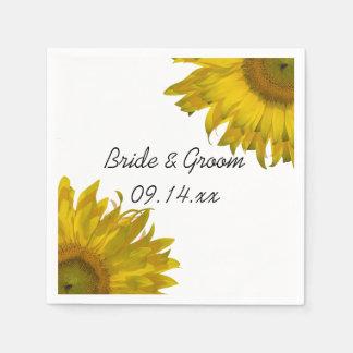 Het gele Huwelijk van Zonnebloemen Wegwerp Servet