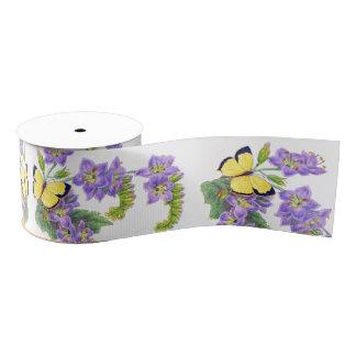 Het gele Lint van de Bloemen van Vlinders Bloemen Grosgrain Lint