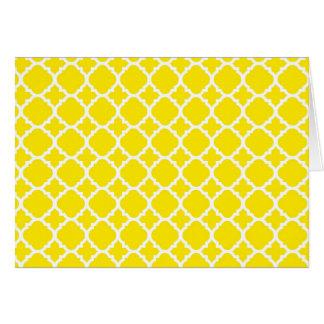 Het gele Ontwerp van het Latwerk Notitiekaart