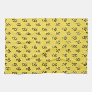 Het gele Patroon van de Bijen van de Zomer Theedoek
