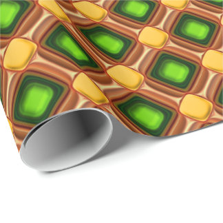 Het gele Patroon van de Gem Inpakpapier