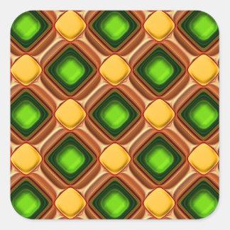 Het gele Patroon van de Gem Vierkante Sticker