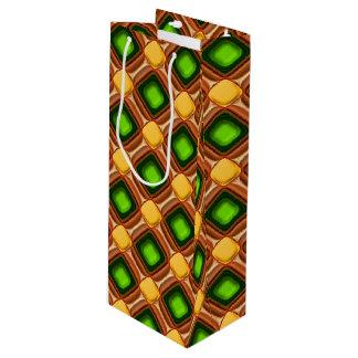 Het gele Patroon van de Gem Wijn Cadeautas