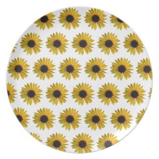 Het gele Patroon van de Zonnebloem Melamine+bord