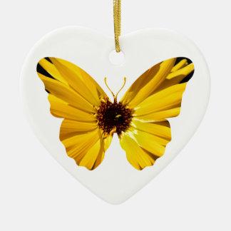 Het gele silhouet van de bloemvlinder keramisch hart ornament