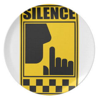 Het gele Teken van de Stilte Melamine+bord