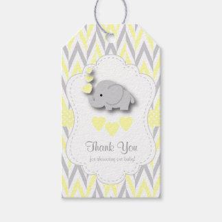Het gele, Witte Grijze Baby shower 2Thank van de Cadeaulabel